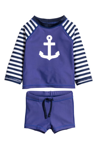 Swim set with UPF 50 - Dark blue/Anchor - Kids | H&M 1