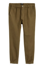 Cotton twill joggers - Khaki green - Men | H&M 2