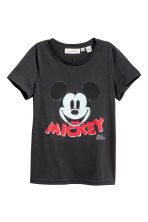 Printed jersey top - Dark grey/Mickey Mouse - Ladies | H&M 2