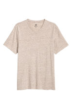 V-neck T-shirt Regular fit - Beige marl - Men | H&M CN 2