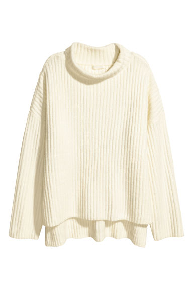 Wide polo-neck jumper - Natural white - Ladies | H&M 1