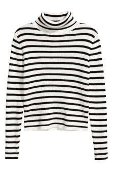 Ribbed polo-neck jumper