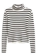 Ribbed polo-neck jumper - Black/White/Striped - Kids | H&M CN 2