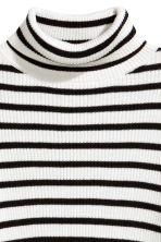 Ribbed polo-neck jumper - Black/White/Striped - Kids | H&M CN 3