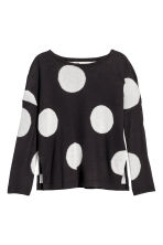 Fine-knit jumper - Black/Spotted -  | H&M 2