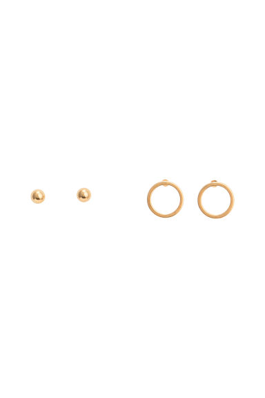 2-pack gold-plated studs - Gold - Ladies | H&M 1