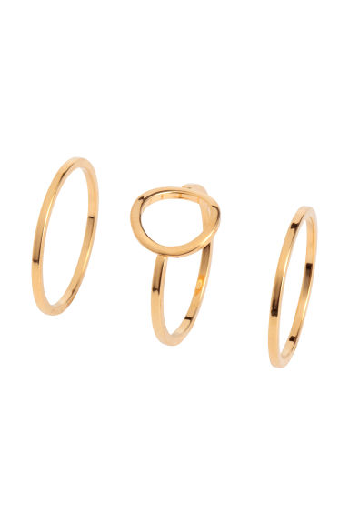 3-pack gold-plated rings - Gold - Ladies | H&M 1