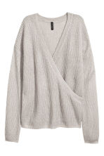 Knitted wrapover jumper - Light grey - Ladies | H&M 2