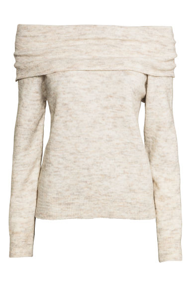 Off-the-shoulder jumper - Beige - Ladies | H&M 1