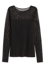 Top a maniche lunghe - Nero/mesh - DONNA | H&M IT 2