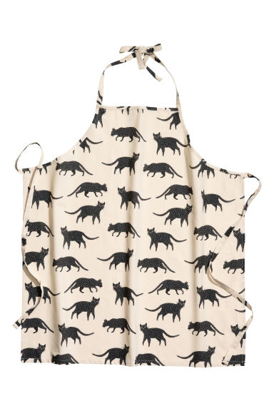 Patterned apron - Natural white/Cats - Home All | H&M CN