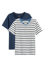 T-shirt scollo a V, 2 pz - Blu scuro -  | H&M IT 2