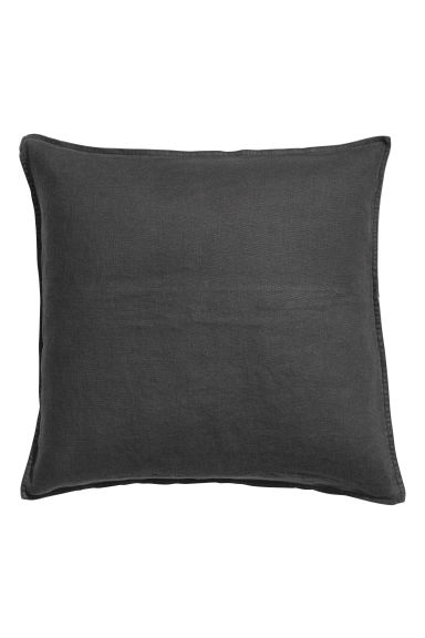 Linen cushion cover - Anthracite grey - Home All | H&M CN