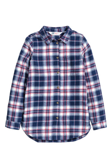 Generous fit Cotton shirt - Dark blue/Checked - Kids | H&M CN 1