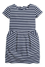 Short-sleeved jersey dress - Dark blue/Striped -  | H&M CN 2