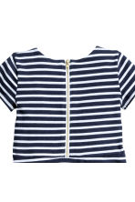 Short-sleeved jersey dress - Dark blue/Striped -  | H&M CN 3