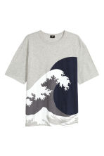 T-shirt ample - Gris chiné/vagues -  | H&M FR 2