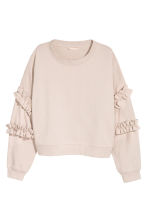 Sweatshirt with frills - Light beige - Ladies | H&M CN 2