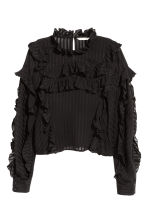 Striped frilled blouse - Black - Ladies | H&M CN 2