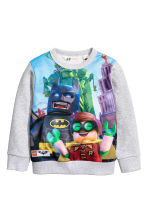Printed sweatshirt - Grey/Lego - Kids | H&M CN 1