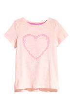 Printed top - Light pink/Heart - Kids | H&M CN 2