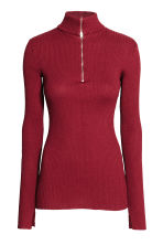 Polo-neck jumper with a zip - Dark red - Ladies | H&M 2