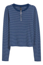 Ribbed jersey top - Dark blue/Striped - Ladies | H&M CN 2