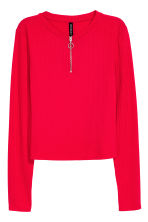 Ribbed jersey top - Red - Ladies | H&M CN 2