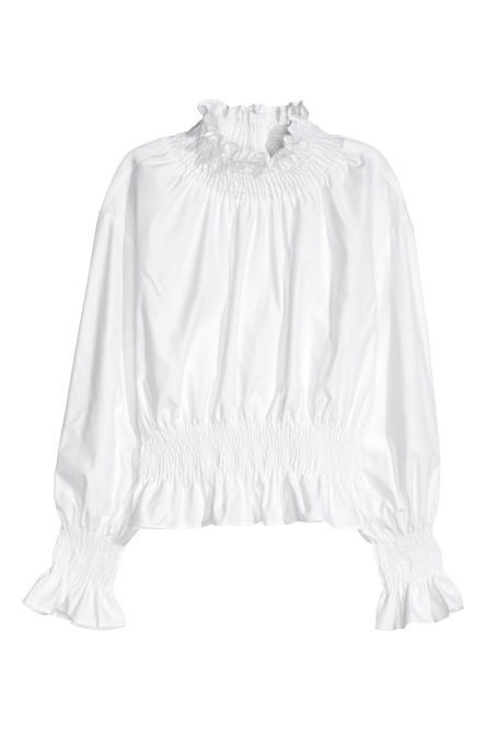 Smocked pima cotton blouse