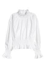 Smocked pima cotton blouse - White - Ladies | H&M CN 2