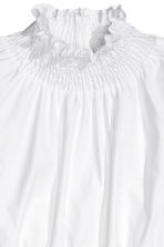 Smocked pima cotton blouse - White - Ladies | H&M CN 3