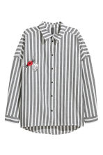 Wide cotton shirt - White/Striped - Ladies | H&M 2