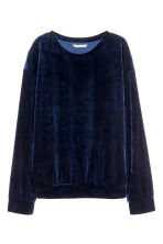 Crushed velvet top - Dark blue - Ladies | H&M CN 2