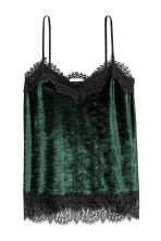 Crushed velvet strappy top - Dark green - Ladies | H&M 2
