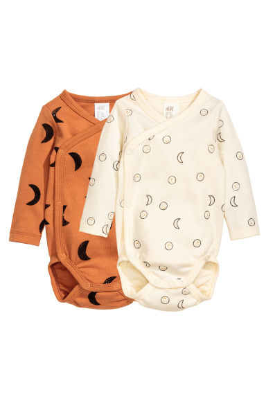 2-pack long-sleeved bodysuits - Camel -  | H&M 1