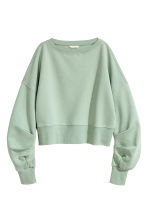 Cropped sweatshirt - Mint green - Ladies | H&M GB 2