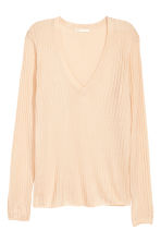 Rib-knit jumper - Powder beige - Ladies | H&M CN 2