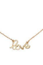 Necklace with a pendant - Gold/Love - Ladies | H&M GB 2