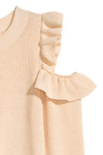 Knitted cold shoulder jumper - Light beige - Ladies | H&M CN 3