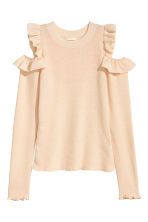 Knitted cold shoulder jumper - Light beige - Ladies | H&M CN 2