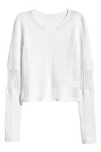 Textured-knit jumper - White - Ladies | H&M CN 2