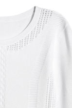 Textured-knit jumper - White - Ladies | H&M CN 3