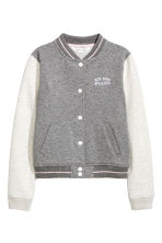 Printed baseball jacket - Grey marl - Kids | H&M CN 2