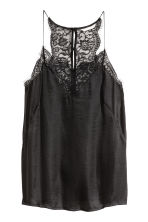 V-neck satin strappy top - Black - Ladies | H&M 2