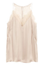 V-neck satin strappy top - Light beige - Ladies | H&M 2