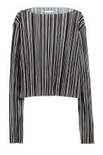 Pleated cropped top - Black/White/Striped - Ladies | H&M CN 2