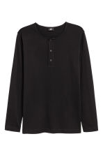 Cotton jersey Henley shirt - Black - Men | H&M CN 2