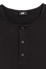 Cotton jersey Henley shirt - Black - Men | H&M CN 3