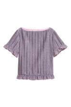 Pleated short-sleeved jumper - Pink/Glittery - Ladies | H&M 2