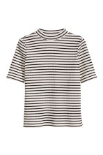 Ribbed top - White/Black striped -  | H&M CN 2